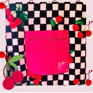 Betsey Johnson Black & Red Cherries Checker Throw